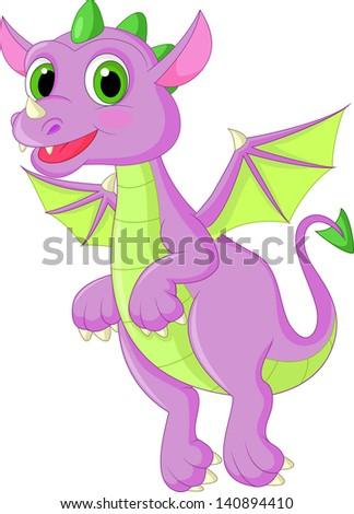 Cute baby dragon flying - stock photo