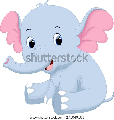 Cute baby elephant cartoon - stock photo
