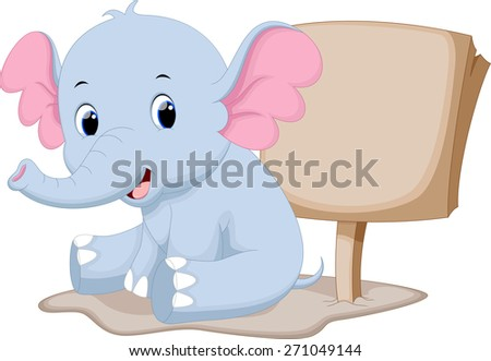 Cute baby elephant cartoon with a blank sign - stock photo