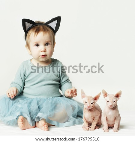 Cute baby girl and kitten, cards background - stock photo
