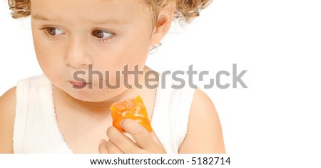 cute baby girl eat a snack