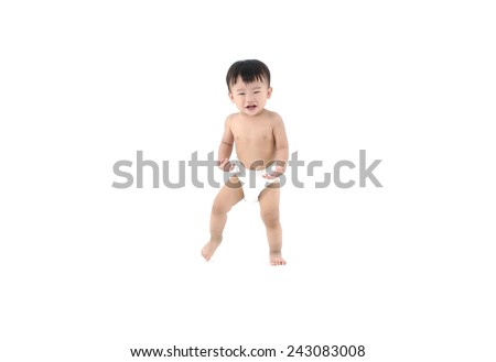 cute baby girl in a diaper looks up isolated - stock photo