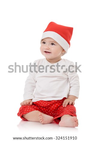 Cute baby girl in santa hat