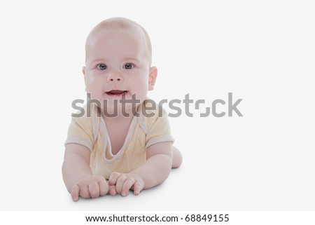 Cute baby girl isolated on white