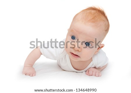 Cute Baby Girl Lying on Front on White Background