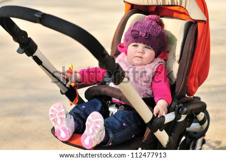 Cute Baby Girl Sitting Stroller Stock Photo 112477913 - Shutterstock