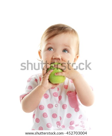 Cute baby girl with apple, isolated on white