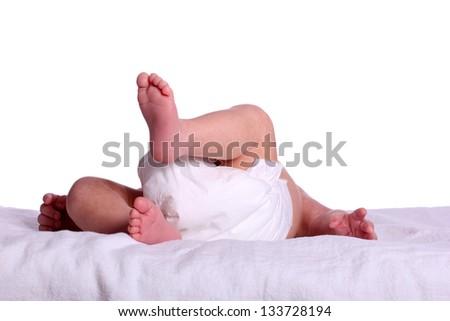cute baby in diaper - stock photo