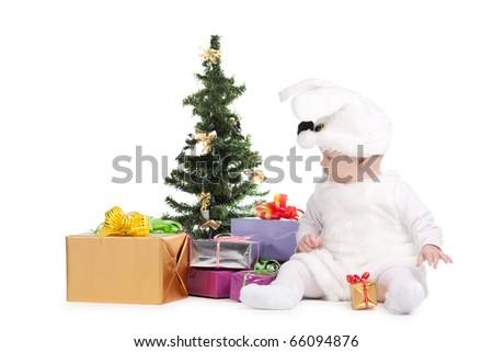 cute baby in rabbit costume - stock photo