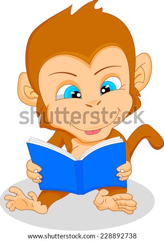cute baby monkey reading - stock photo
