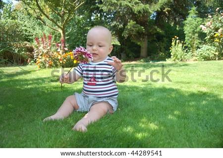 Cute baby outdoor - stock photo