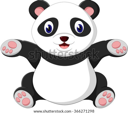 cute baby panda - stock photo