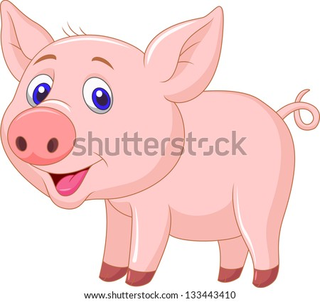 Cute baby pig cartoon - stock photo