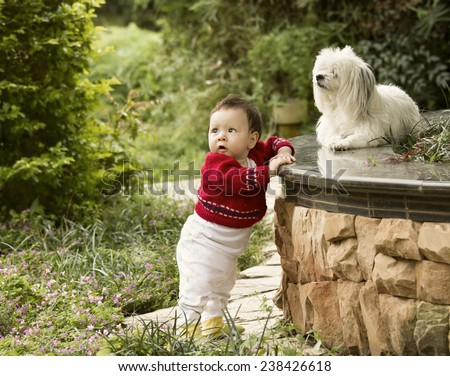 Cute Baby Playing Outside with her Dog - stock photo