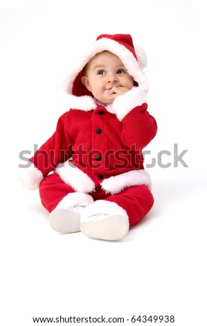 Cute Baby Ready for First Christmas, Isolated on White Background.