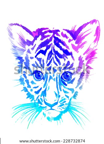 cute baby tiger portrait in rainbow colors illustration for fashion. - stock photo