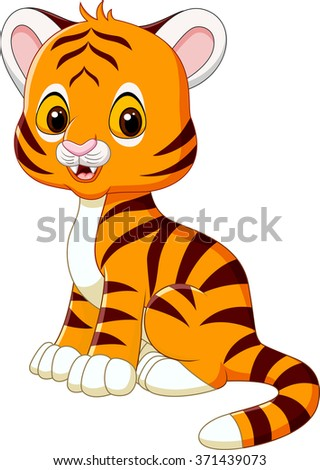 Cute baby tiger sitting isolated on white background