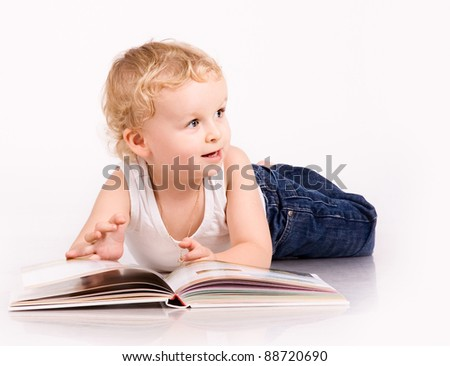 cute baby with a book