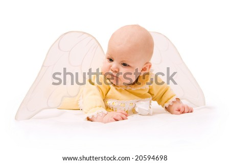 Cute baby with angel wings isolated on white background