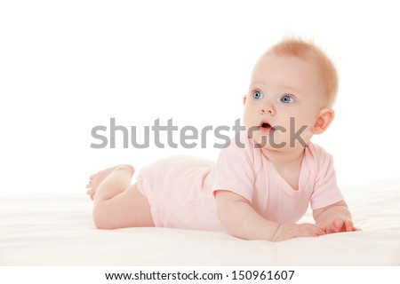 Cute baby with beautiful blue eyes on the white background