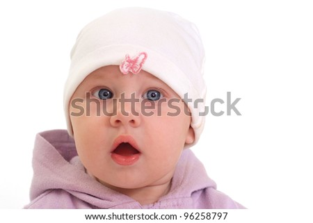 cute baby with blue eyes on white