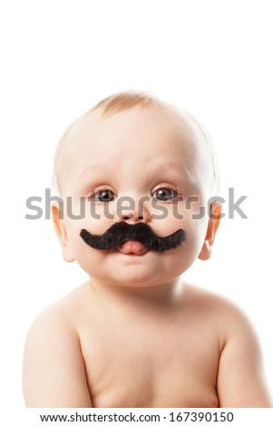 cute baby with moustaches - stock photo