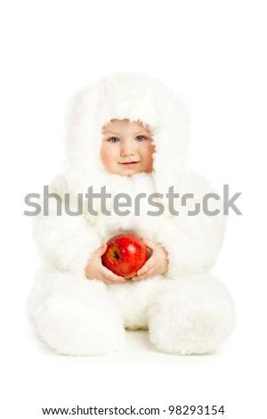 cute baby with rabbit costume - stock photo
