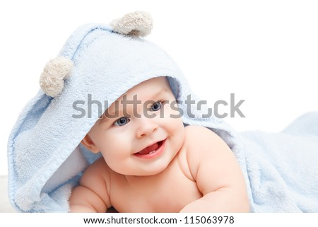 Cute baby with towel on white - stock photo