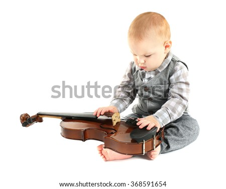 Cute baby with violin isolated on white background