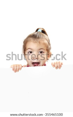 cute baby with white blank banner isolated. open mouth