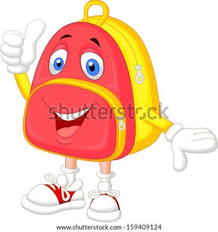 Cute bag cartoon with thumb up - stock photo