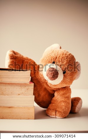 Cute bear doll with pile of books. - stock photo