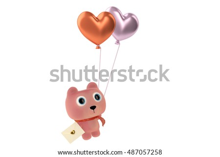 Cute bear with love letters hanging on the balloons.3D illustration.