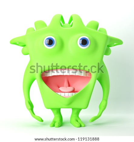 Cute beast with opened mouth / Lovely green monster