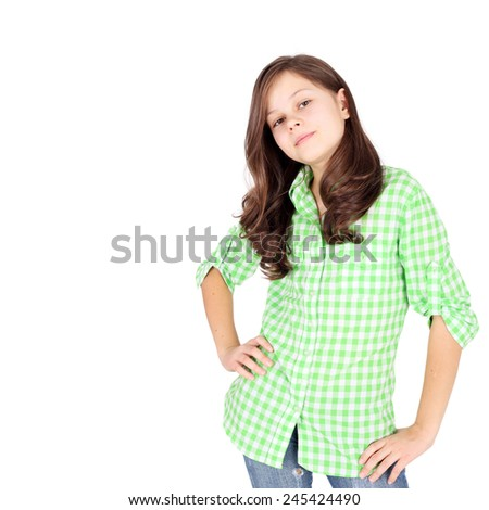 cute beautiful teen girl in the checkered shirt - stock photo