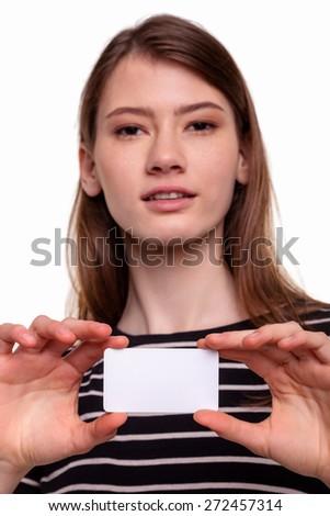 Cute Beautiful Woman Showing Blank Business Card Stock Image - stock photo