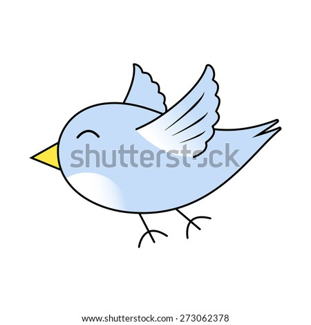 Cute bird cartoon, in blue with a white breast and yellow beak. The bird is flying and has its eye closed, with a happy, peaceful expression. - stock photo