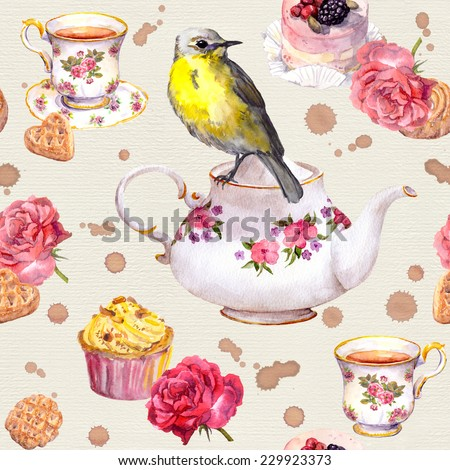Cute bird on tea pot. Tea cup, cakes, rose flowers. Repeating teatime pattern. Watercolor