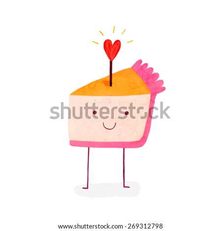 Cute birthday Cake with shiny heart. Smiley Pie character in cartoon style - stock photo