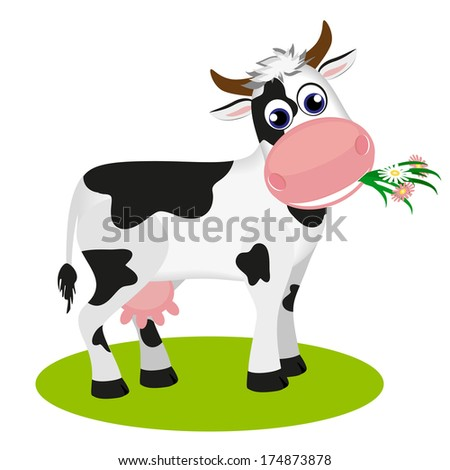 Cute black and white cow eating daisy. Raster version  - stock photo