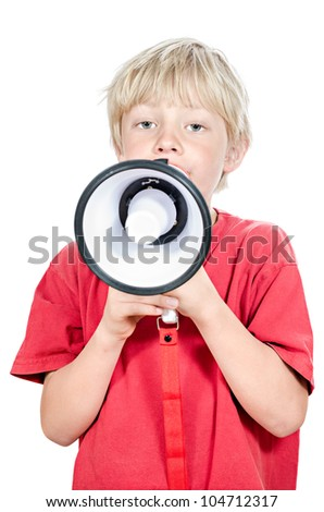 cute blond boy with megaphone on white