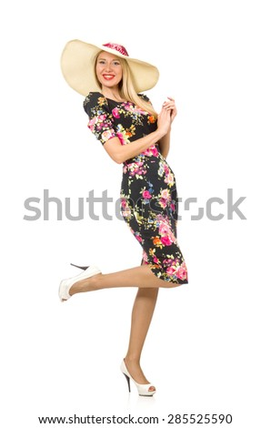 Cute blonde girl in floral dress isolated on white - stock photo