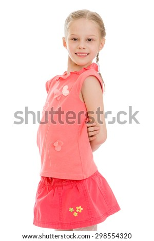 Cute blonde girl with braided pigtails hair wearing red shirt and red short skirt, close-up-Isolated on white background - stock photo