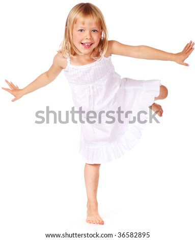 cute blonde little girl playing - stock photo