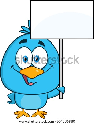 Cute Blue Bird Cartoon Character Holding Up A Blank Sign. Raster Illustration Isolated On White - stock photo