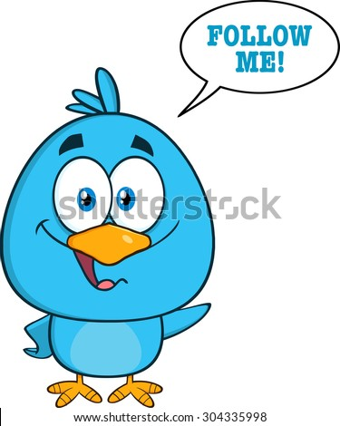 Cute Blue Bird Cartoon Character Waving With Speech Bubble And Text. Raster Illustration Isolated On White - stock photo
