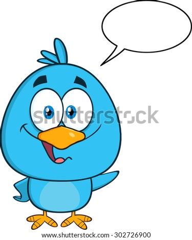 Cute Blue Bird Cartoon Character Waving With Speech Bubble. Raster Illustration Isolated On White - stock photo