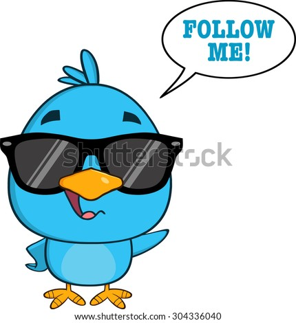 Cute Blue Bird With Sunglasses Cartoon Character Waving With Speech Bubble And Text. Raster Illustration Isolated On White - stock photo