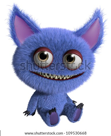 cute blue monster - stock photo