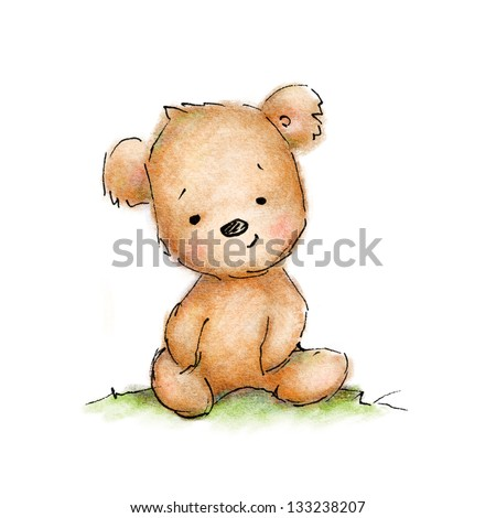 Cute blue teddy bear on white background